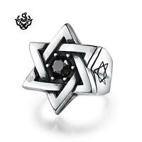 Silver Magen David ring solid stainless steel band black crystal BIG