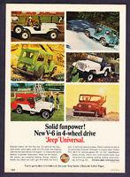 "1966 Jeep V-6 Universal 6 photo ""Solid Funpower"" promo print ad"