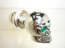 HQ CHROME SKULL CAR CIGARETTE LIGHTER TAIWAN MADE GREEN EYES FREE SHIPPING
