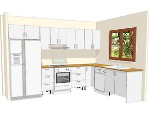 Complete Kitchen with Polyurethane Door & Caesar Stone Bench - Top