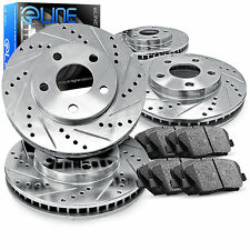 Brake Rotors FULL KIT ELINE DRILLED SLOTTED & PADS-Honda CIVIC 99-2000 Coupe-Si