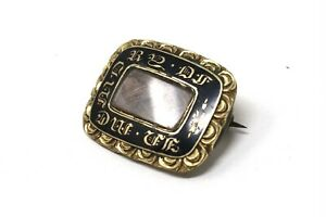 Stunning Victorian Gold Plated Enamel Mourning Ladies Brooch #413