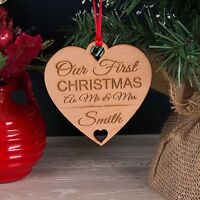 Personalised Wooden Our First Xmas As Mr & Mrs Christmas Tree Decoration Bauble
