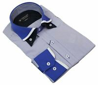 Mens White Stripe Italian Double Collar Button Shirt Slim Fit Smart Casual