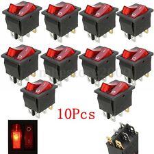 10pcs 6 Pin On/Off Red Light Toggle Double SPST Rocker Switch 15A/250V 20A/125V