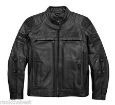 Harley Davidson Mens Erving Pocket System Reflective Leather Jacket 97139-17VM L