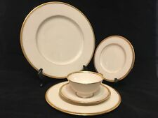 VINTAGE LENOX TUXEDO J-33 5-PIECE PLACE SETTING GOLD BACKSTAMP Made in USA