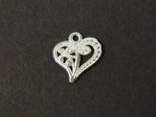 Lot Of 50 Pcs Silver Plated Heart Pendants Charms 13x14mm