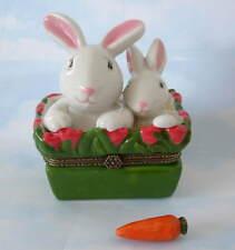 New Easter Mother Mama Bunny Rabbit & Baby Bunny Porcelain Hinged Trinket Box