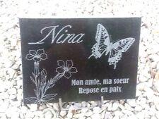 plaque funeraire granit noir personnalisée + texte + dessins au choix