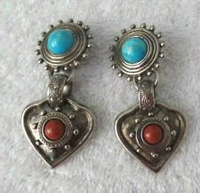 Robert Rose Southwestern Style Faux Turquoise Coral Clip On Dangle Earrings