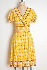Diane von Furstenberg wrap dress DVF silk yellow geometric print kimono 6 S