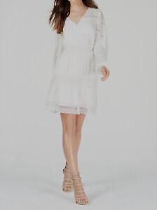 $250 Guess Women's White Lace V-Neck Crochet-Trim Peasant Sheath Dress Size L