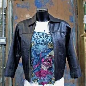 60s Women's Black Mod Biker Leather Jacket with Zip Size 28
