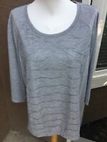 New Chico's Zenergy Foil Texture Front Embellished Gray Top Shirt 3 XL 16 18 NWT