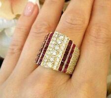 Banda Ancha diamante y rubí Anillo TCW 7.00ct En Amarillo Oro hm1710