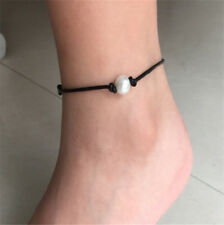 Simple Personality Pearl Barefoot Anklet Chain Imitation Leather Women Jewelry