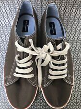 NEW M&S Blue Harbour Mens Size 10 45 Canvas Trainers Lace Up Shoes Brown & Cream