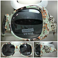 New WESTERN Bling COWGIRL SUNGLASSES Camouflage Camo Frame Silver Crystal Concho