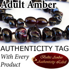 RARE CRIMSON BLACK Certified Baltic Amber ADULT NECKLACE Natural Health