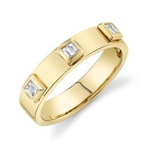Womens 14K Yellow Gold Baguette Diamond Wedding Band Ring Size 7 4.5MM Bezel Set
