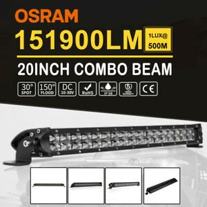 22INCH LED Light Work Bar Dual Rows Spot Flood Combo Work Driving 4x4 4WD Beam