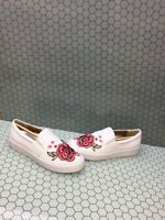 NIB Vionic SPLENDID MIDI White Floral Leather Slip On Sneakers Women's Size 9