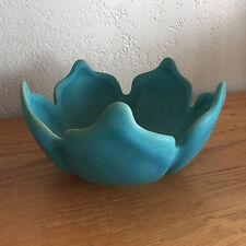 "Van Briggle Lotus Bowl Mid-Century Art Pottery  Turquoise  Ming  H 3 1/4""   D 6"""