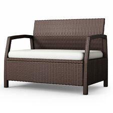 Outdoor Rattan Loveseat Bench Couch Chair Patio Furni Brown W/ Cushions New