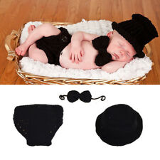 Newborn Baby Boy's Black Crochet Knit Clothes Photo Photography Prop Costume Hat