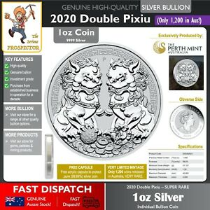 1oz Silver Bullion Coin | Double Pixiu 2020 | VERY LIMITED RELEASE | Perth Mint