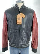 NEW Denim & Leathers Andrew Marc BLACK/BURGUNDY Leather Varsity Jacket size XL
