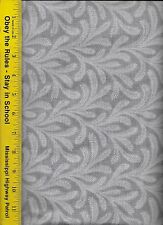 "108"" WIDE QUILT BACKING FABRIC: FLOWY,  FLW-GRAY, 100% COTTON, By The Yard"