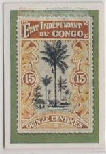 1930s Trade Ad Card - Early 1900s Congo 15c Tree Postage Stamp