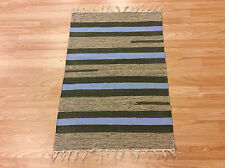 Striped Blue Multi Color Handloomed Cotton Rag RUG Durrie Mat 60x90cm 2x3 50%OF