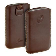 Elegante T- Case Leder Etui Tasche braun f HTC Salsa