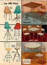 1962 PAPER AD Mid Century Modern Fiberglas Comfortline Contour Chair Stool