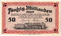 RARE BRITE RED CRISP AU 50 BILLION MARKS of NAZI TRAIN/TANK/PLANE MFR HENSCHEL!!