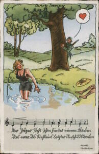 WWII Nazi Military Humor,Soldier with Heart Balloon Watching Bathing Beauty,Song