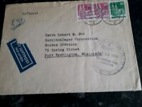 GERMANY US ZONE TO WISCONSIN USA COVER 1951 STAMPS BX #2