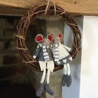 Grey & White Hanging Felt Mice Wreath Christmas Decoration Wicker Country