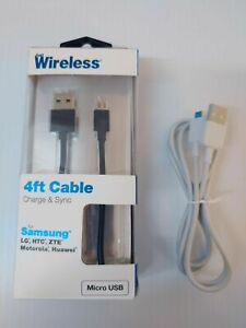 Just Wireless 4' Micro USB Cable- Black and 4' no box Micro USB Cable ZTE on tag