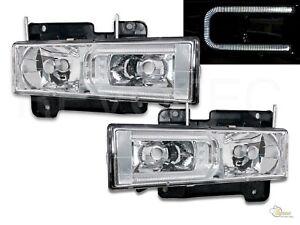 88-99 GMC Chevy Suburban Tahoe CK C10 Yukon C-Bar Chrome Headlights RH + LH