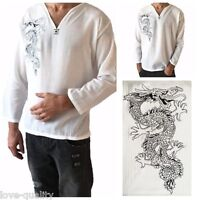 Men's White Dragon T-Shirt 100% Cotton Thai Hippie Shirt V-Neck Beach Yoga Top