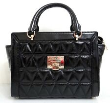 MICHAEL KORS VIVIANNE Black Quilted PATENT LEATHER SMALL SATCHEL MESSENGER BAG
