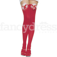 Ladies Christmas Red Stockings with Fur Bells and Bow Thigh High Fancy Dress