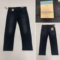 M&S Mens Straight Fit Jeans Vintage Wash Dark Blue Denim W38 L31 BNWT RRP £30