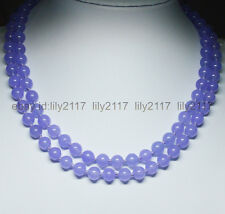 "Pretty! Purple 8mm Violet Alexandrite Round Beads Gemstones Necklaces 36"" AA"