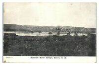 Early 1900s Missouri River Bridge, Pierre, SD Postcard *283