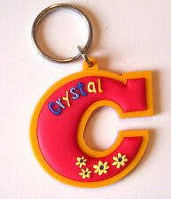 Personalized Crystal Keychain Keyring Backpack Ring Gift Tag Red Orange NeW